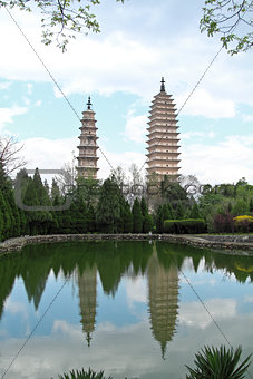 Three pagodas in Dali, China