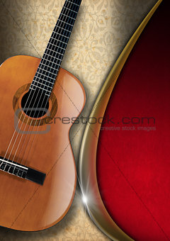 Acoustic Guitar on Floral Background