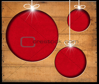 Christmas Balls - Old Wooden Boards