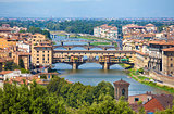 Ponte Vecchio view over Arno  river in Florence