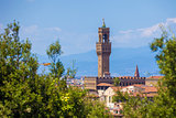 View of the Palazzo della Signoria tower, Florence