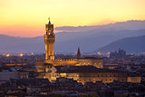 Sunset view of the Palazzo della Signoria tower, Florence