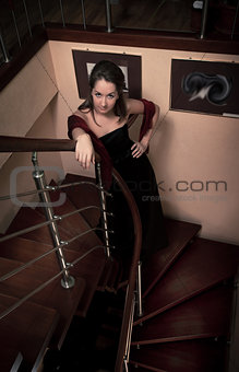 aristocratic lady on stairs
