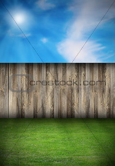 backyard with fence and green turf