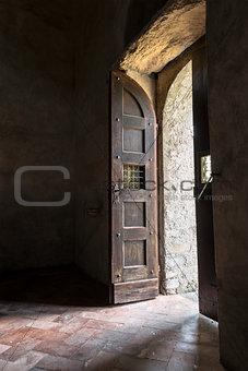 Old wooden door of the church