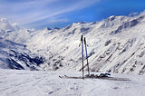 Skis and ski poles in Alps