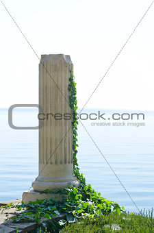 ancient Greek column near sea