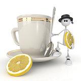 The little man with a mug.