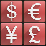Currency icons symbol dollar, euro, yen, pound.