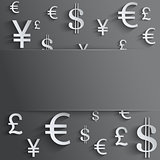 Currency symbol with space for text.