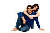 Beautiful couple smiling isolated on a white background