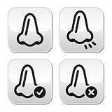 Nose smell vecotr buttons icons set