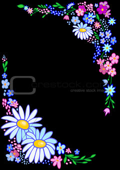 Abstract flowers frame