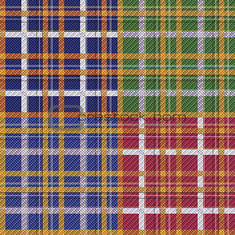 Four various seamless checkered patterns