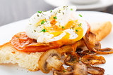 Poached egg with mushrooms and tomatoes