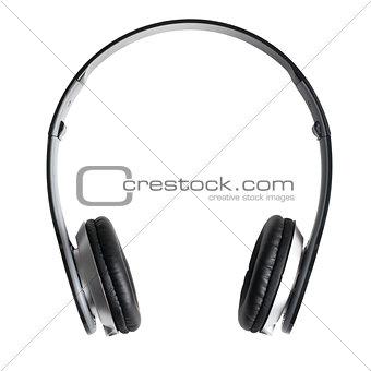 black headphones on white background