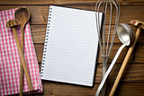 recipe book with kitchenware