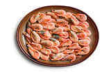 boiled shrimp on plate