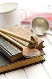 recipe book with old kitchenware