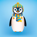 Cute Penguin on Blue Background