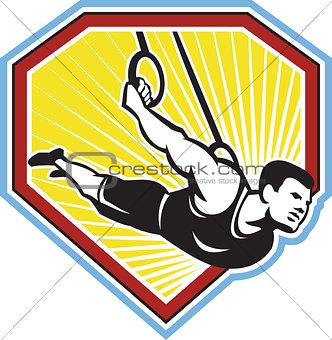 Crossfit Athlete Muscle-Up Gymnastics Ring Retro