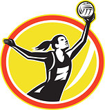 Netball Player Catching Ball Retro