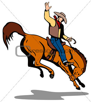 Rodeo Cowboy Riding Horse