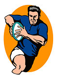 rugby player retro
