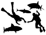 Scuba Divers and Sharks Silhouette