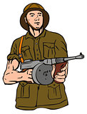 Soldier with Thompson Gun
