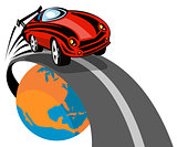 Sports Car Flying above globe