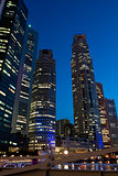 Singapore downtown skyscrapers at evening