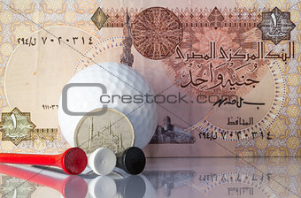 Egyptian money and golf equipments