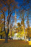Famous Lookout tower on Petrin Hill in Prague