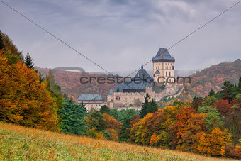 Autumn scenery with Karlstejn Castle