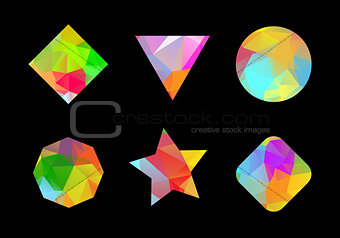 A set of colored geometric polygonal shapes for your design 2.