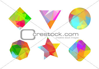A set of colored geometric polygonal shapes for your design.j