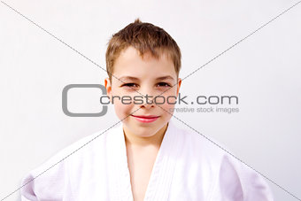 portrait of cute young teen boy in kimono