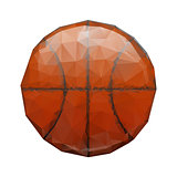 Abstract geometric polygonal basketball. Wrinkled paper. Origami style.j