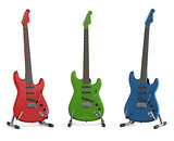 Red green and blue electric guitar