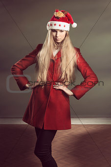 girl with fashion christmas style