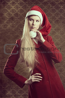 attractive winter christmas girl