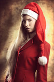 xmas portrait of fashion blonde girl
