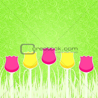 Floral Background with Pink and Yellow Tulips