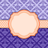 Purple Vintage Damask Card with Label.