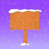 Wooden Board in White Snow