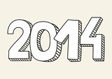 New Year 2014 hand drawn doodle vector sign or number symbol draft with white and black