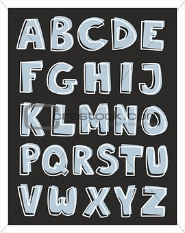 Alphabet letters vector hand drawn blue and white set isolated on black background.