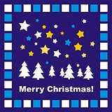 Dark blue Christmas vector card with Merry Christmas wishes