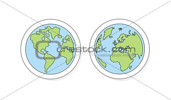 Hand drawn planet earth vector illustration with both globes icon or sign
